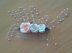 Swarovski pearls & crystals hair comb