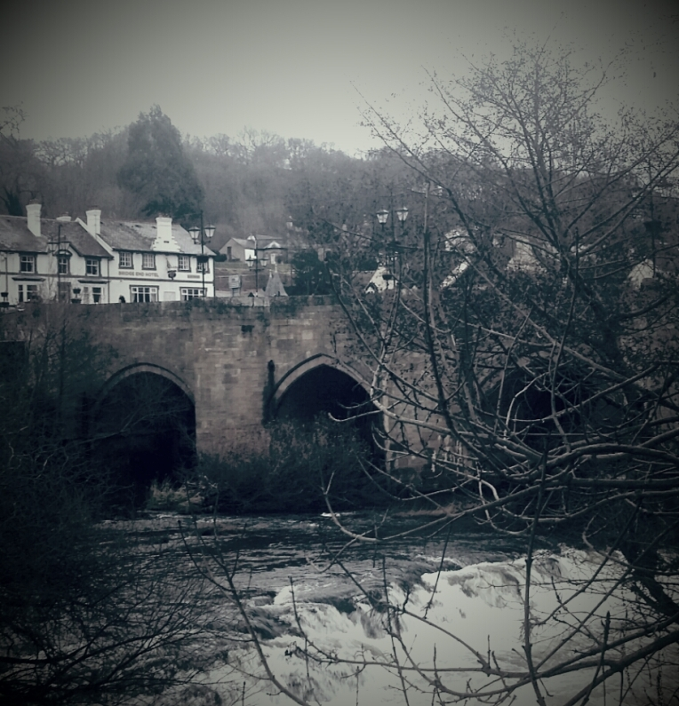 The river rapids in Llangollen in Winter