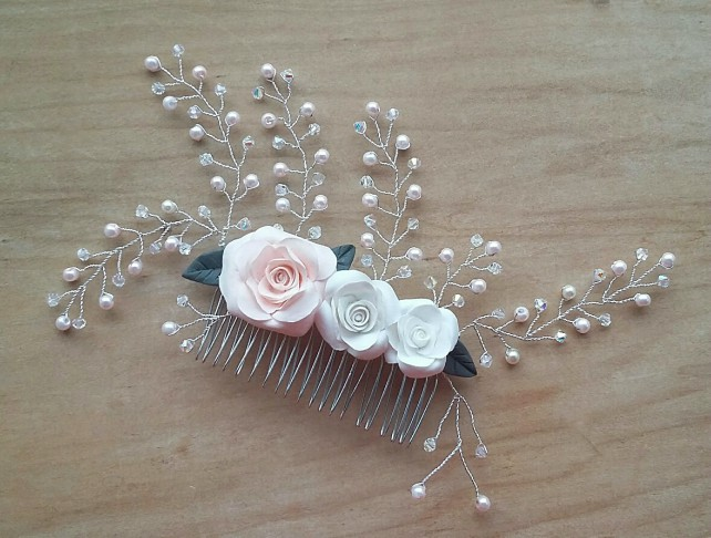 Hand made rose bridal hair comb